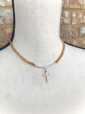 Topaz Beaded Cross Choker