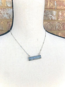 Gray Stone Bar Silver Necklace