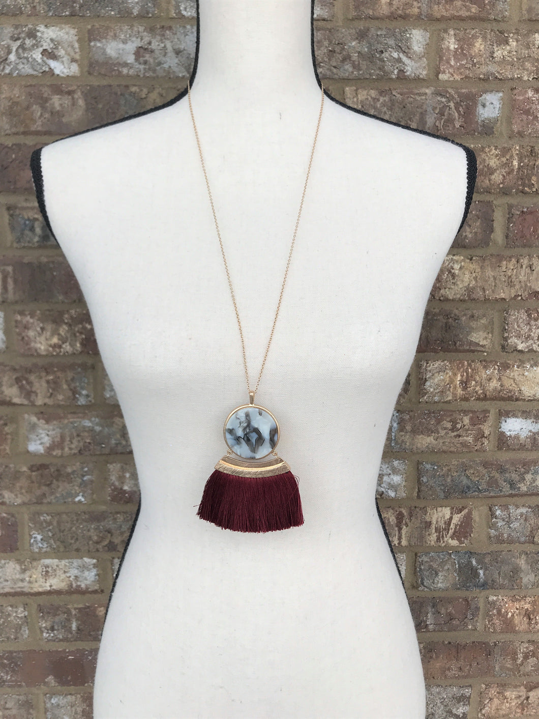 Double Sided Wine Fringe Necklace