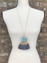 Double Sided Gray Fringe Necklace