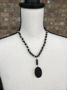 Striped Tibetan & Black Druzy Necklace