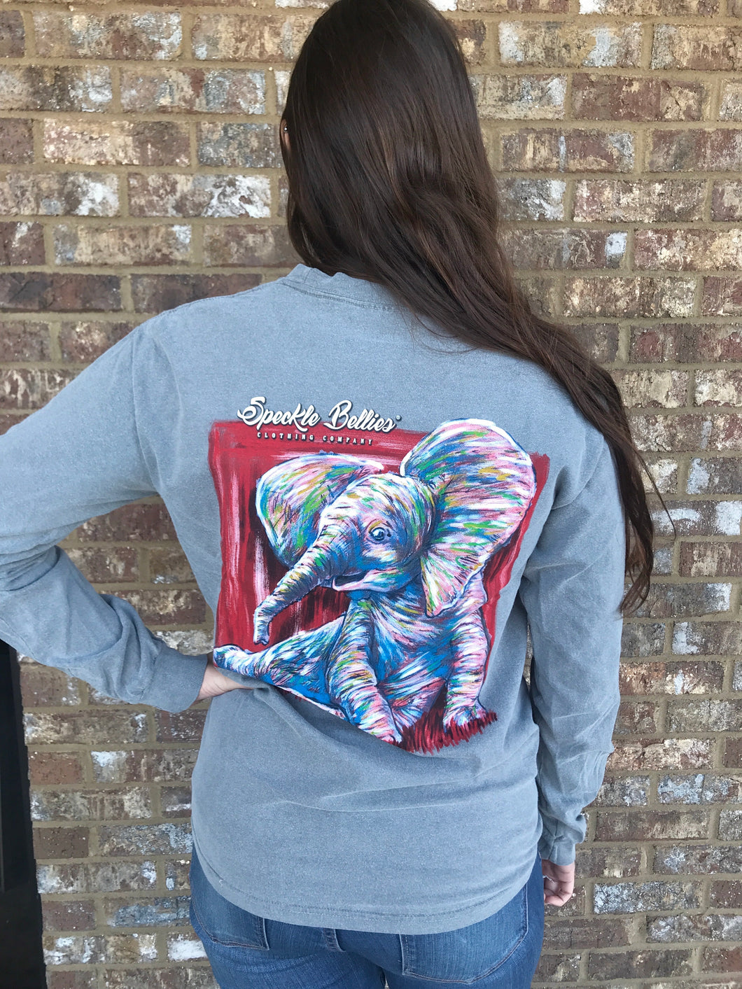 Game Day Elephant Long Sleeve- Granite