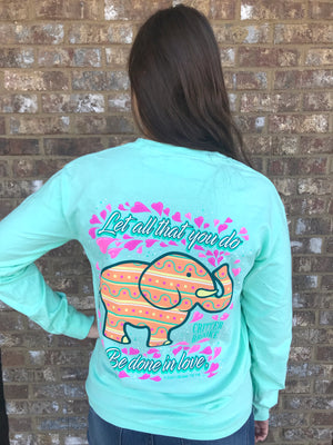 Done In Love Elephant Long Sleeve- Chalky Mint