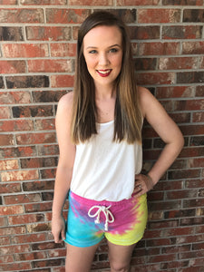 Tie Dye Short- Red, Blue, Yellow