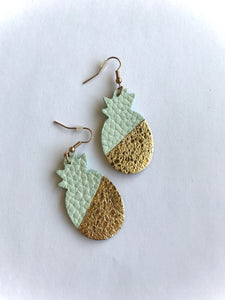 Leather Mint & Gold Pineapple Earrings