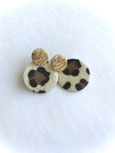 Cheetah Circle Leather on Stud Earrings- White