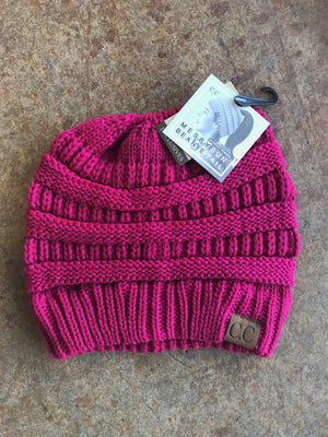 Hot Pink Messy Bun Beanie