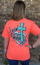 Love Never Fails- Heather Coral SIZE SMALL