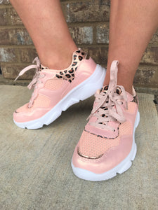 Pink With Cheetah Accent Sneaker