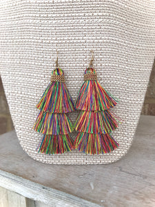 18) Triple Multi Tassel Earring
