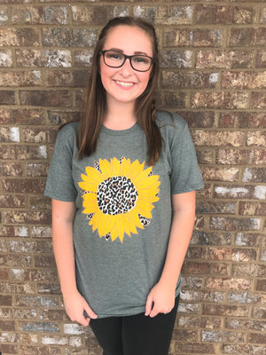 Cheetah Sunflower Short Sleeve- Heather Olive
