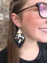 1) White Cheetah & Black Fringe Earring