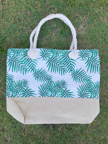 Palm Leaf Beach Tote- Cream