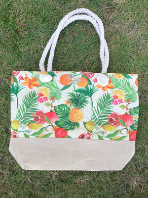 Tropical Fruit Beach Tote