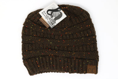 Brown Confetti Messy Bun Beanie