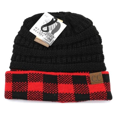 Red/Black Plaid Messy Bun Beanie
