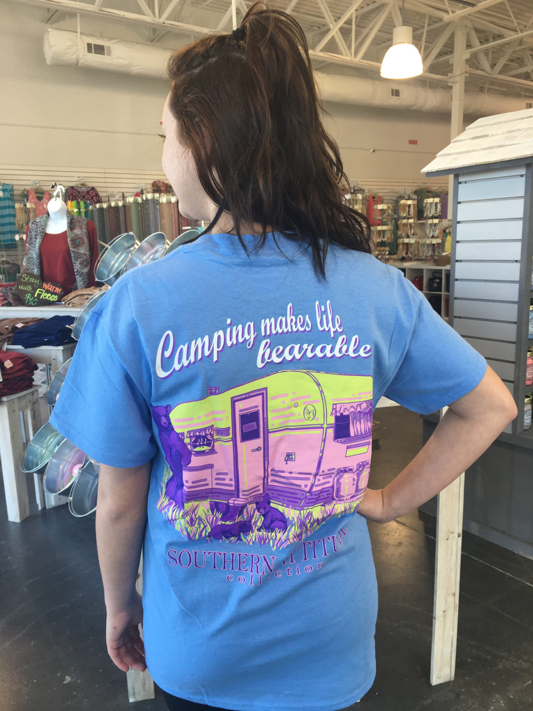 Camping Makes Life Bearable - Carolina Blue SIZE SMALL