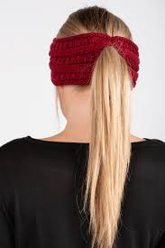 Burgundy Pony Headband
