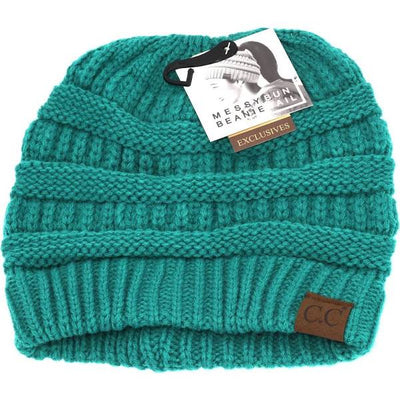 Sea Green Messy Bun Beanie