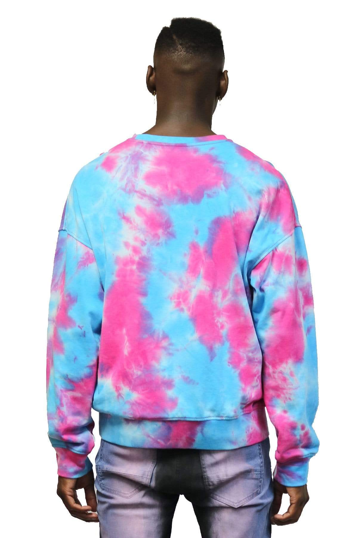 KLEEP Men's Sweatshirt Misty Rose Tie die Crewneck Pullover.