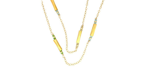 Long gold plated chain with peridot blue topaz and citrine