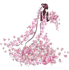 Pink flowers bride illustration