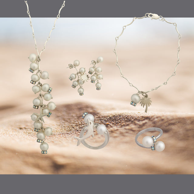 Sea inspired silver pearls and Swarovski jewelry