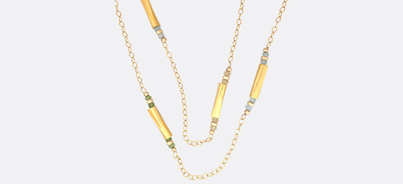 Long necklace from Waves collection in Gold Plated and natural citrine peridot and blue topaz