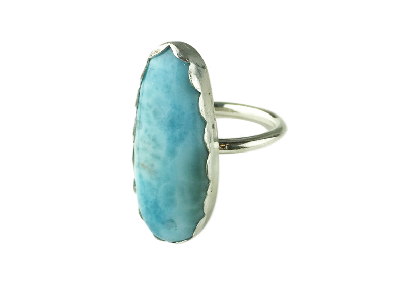 Silver ring with long Larimar cabochon