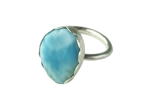 Silver ring with Larimar cabochon