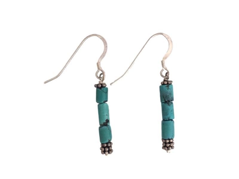 Turquoise tubes and silver earrings