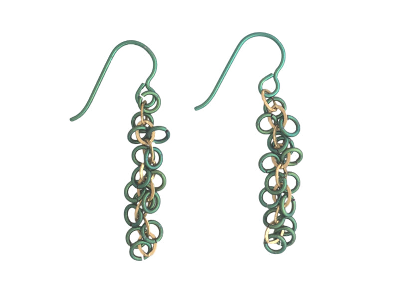 Long earrings with gold filled chain and green Niobium rings