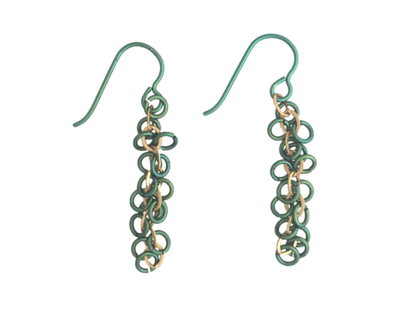 Green niobium rings earrings