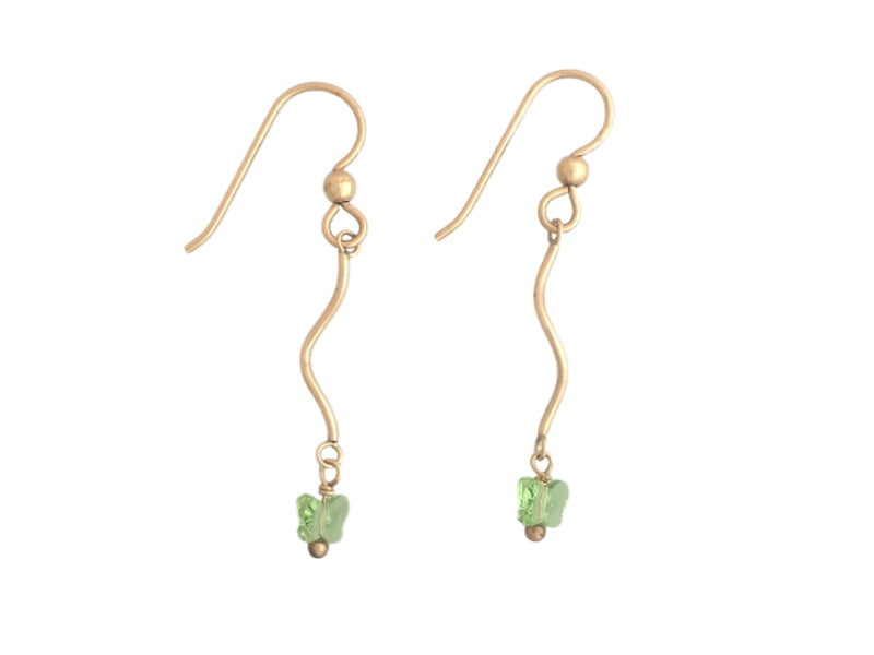 Gold filled long earrings with green Swarovski butterflies