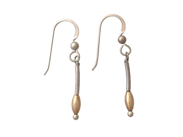 Simple earrings with silver tubes and gold filled beads