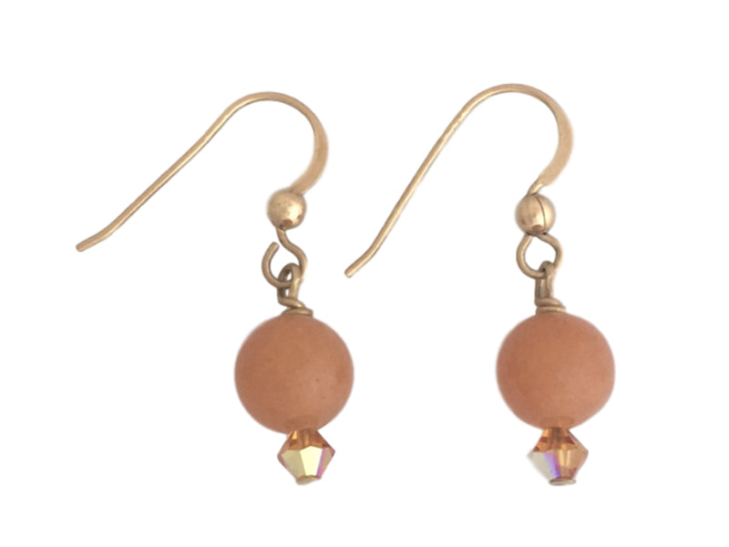 Peach Aventurine, Swarovski crystals and Gold Filled earrings