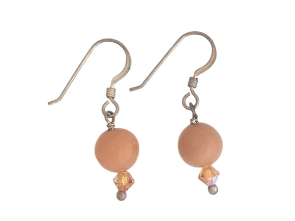 Peach Aventurine Swarovski and Silver earrings