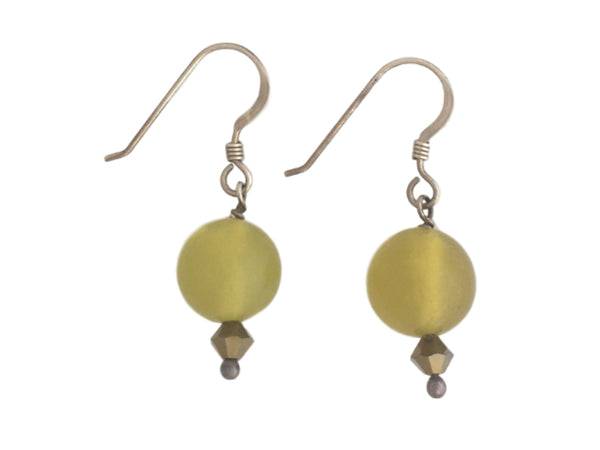 Olive jade Swarovski and silver earrings