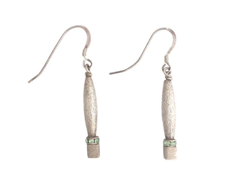 Dusted silver large geometric earrings with green Swarovski