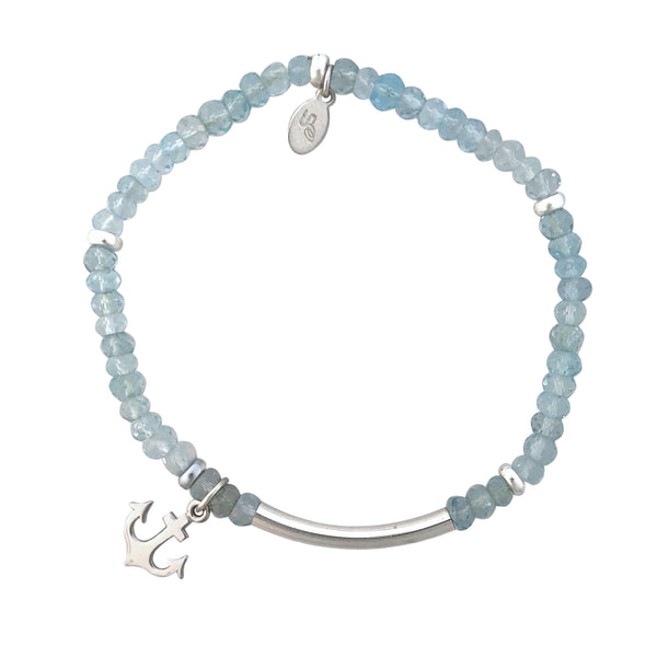 Blue Topaz and silver bracelet with anchor charm