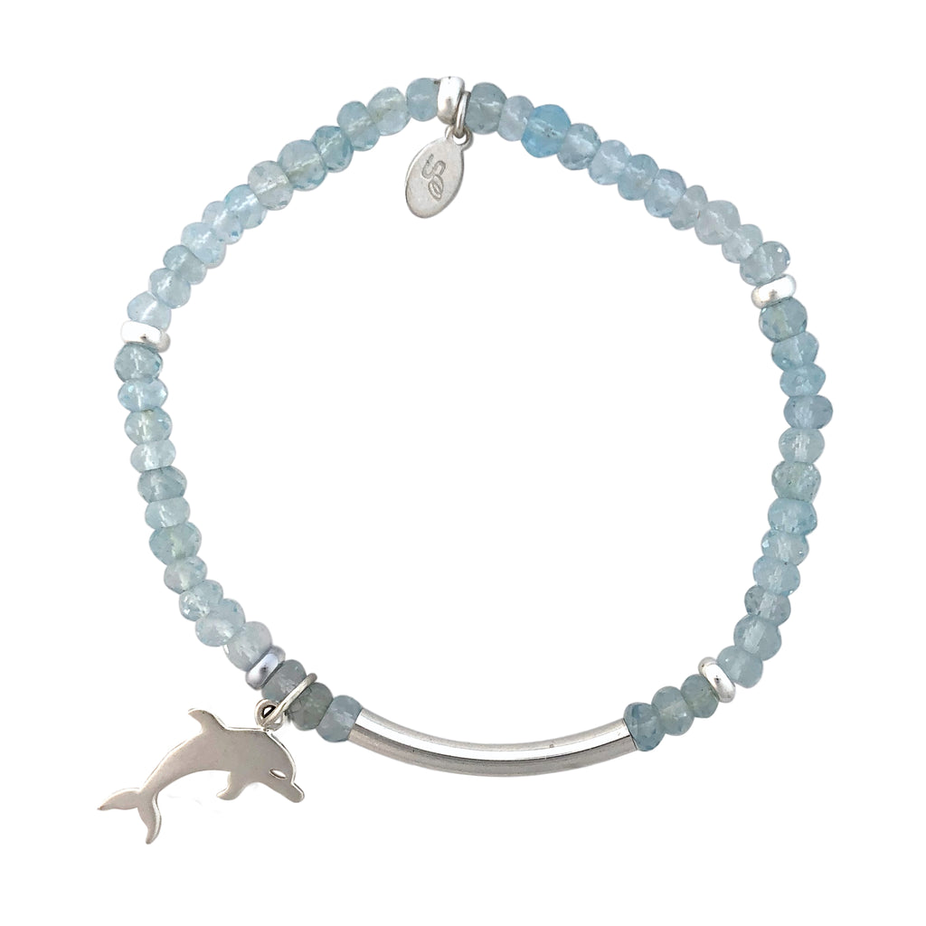 Blue Topaz and silver bracelet with dolphin charm