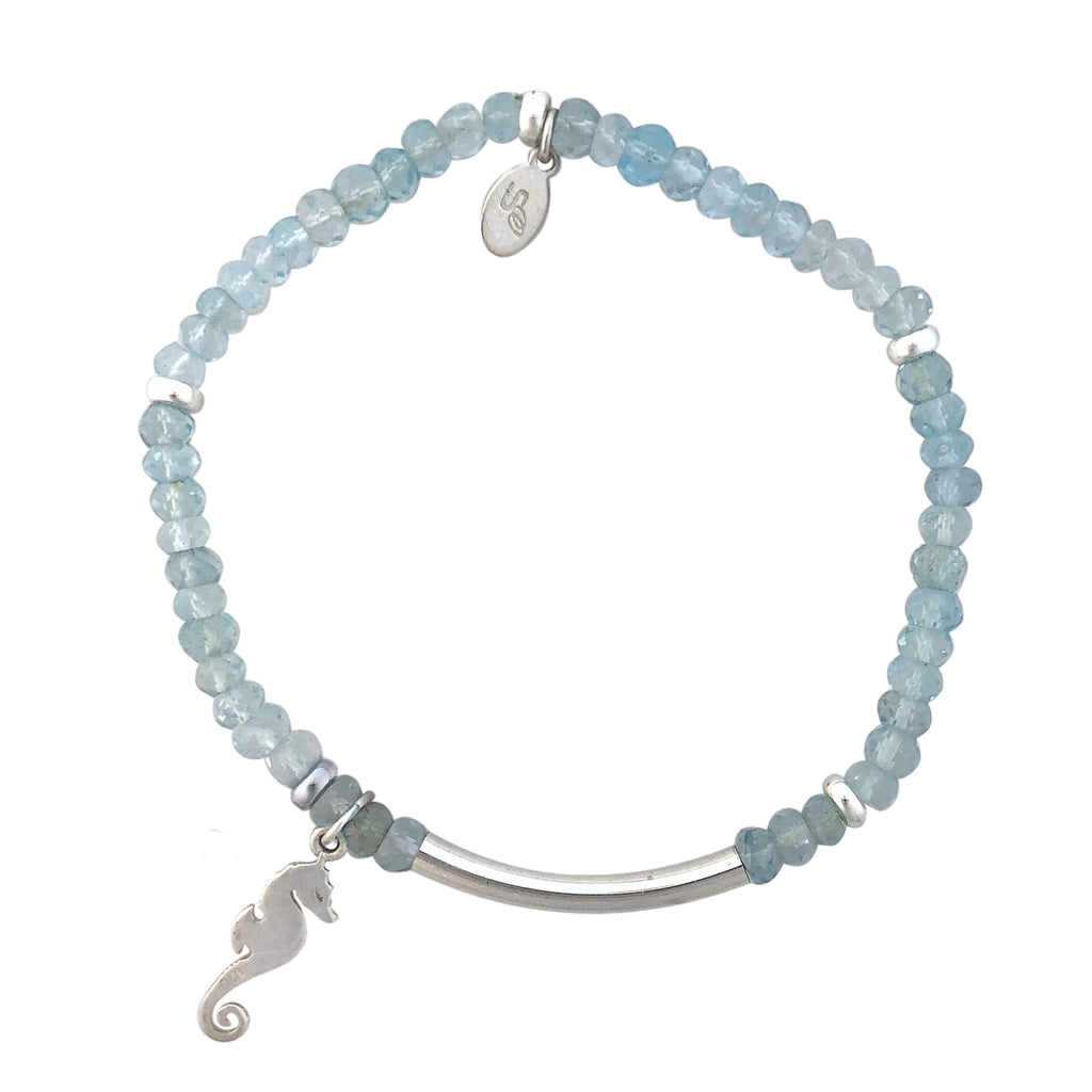 Blue Topaz and silver bracelet with Seahorse charm