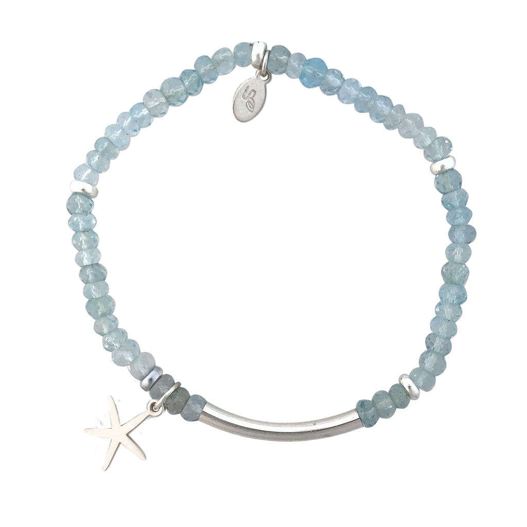 Blue Topaz and silver bracelet with Starfish charm