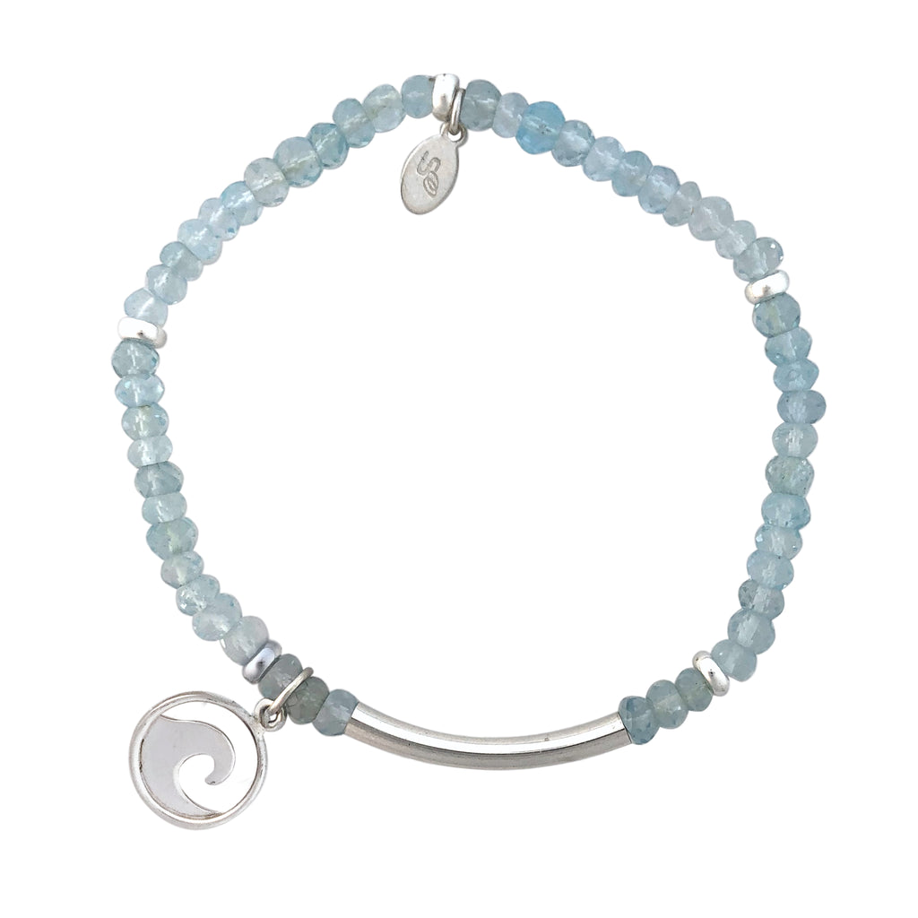Blue Topaz and silver bracelet with Wave charm