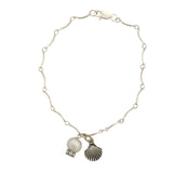 Bracelet with pearl and shell charm