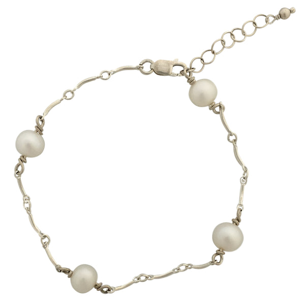 Pearls silver and Swarovski crystals bracelet