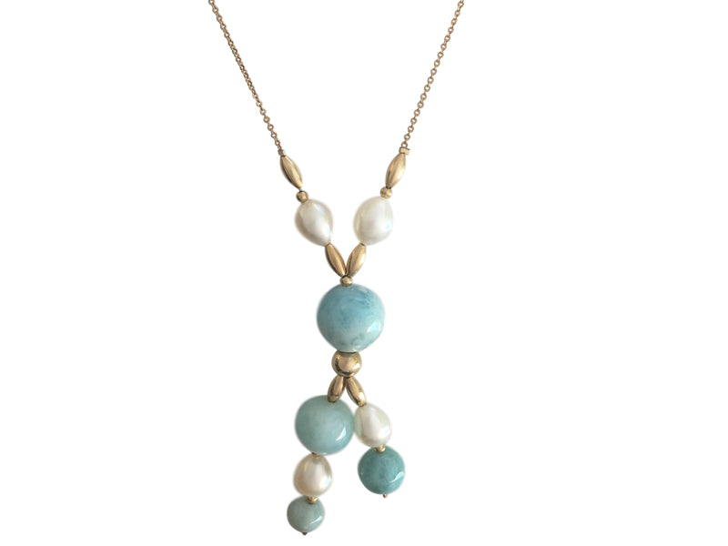Larimar freshwater pearls and gold filled necklace