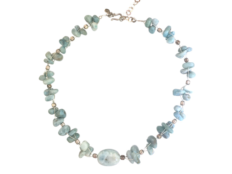 Larimar and silver intertwined necklace
