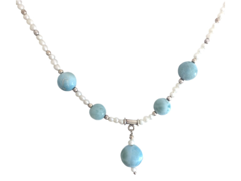 Larimar and freshwater pearls necklace