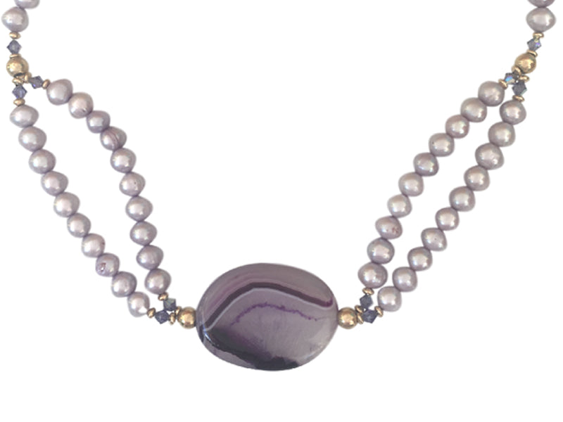 Agate and Lila Freshwater Pearls necklace